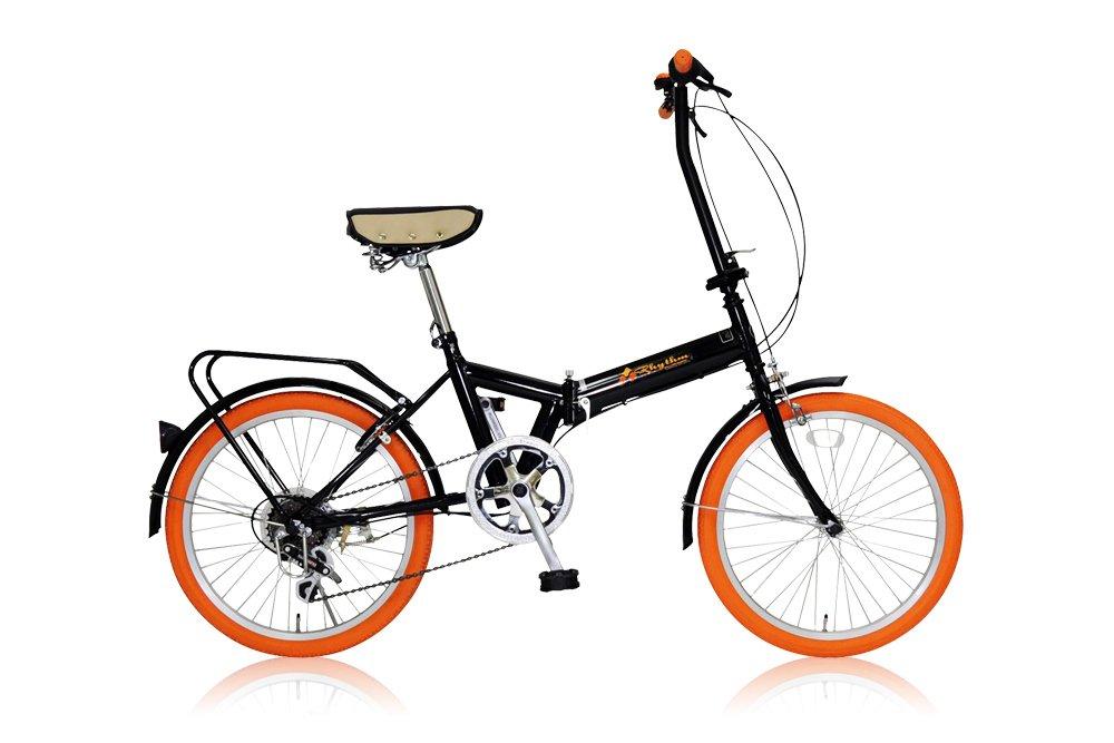 リズム(RHYTHM) 20インチ 折りたたみ自転車 シマノ6段変速 前後泥除け/リアキャリア標準装備 カギ付き FD1B-206 オレンジ B007RKYC3C