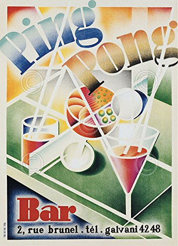 Ping Pong Bar by Vintage Poster Drink Alcohol Cocktail Print