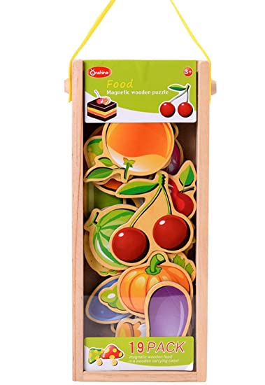 AdiChai Wooden Magnetic Food Puzzle with Wooden Carrying Case