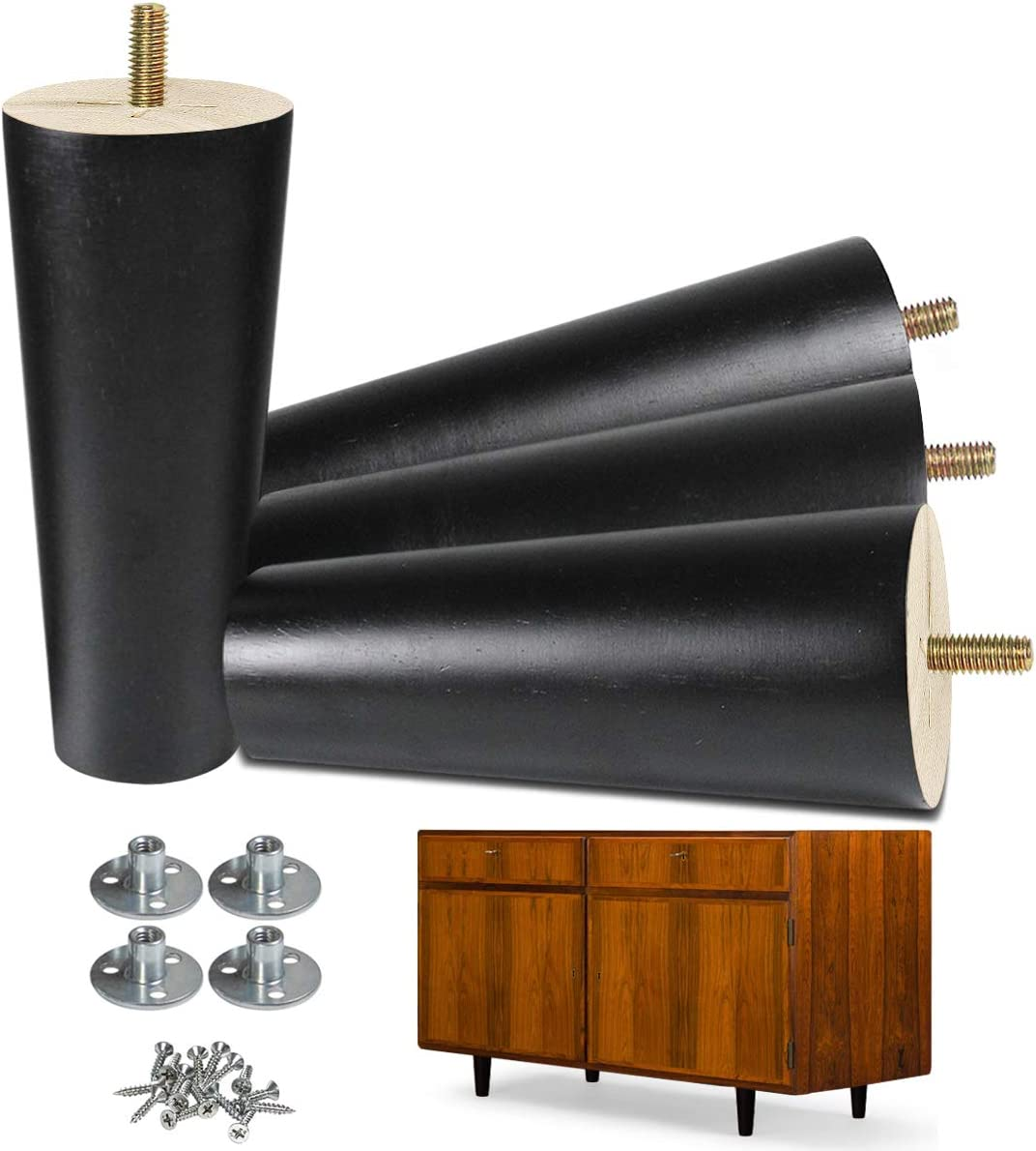 AORYVIC Furniture Legs 6 inch Black Wood Legs Pack of 4