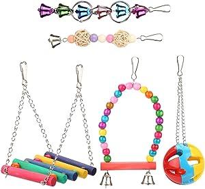 Yosoo Wood Bird Ladder Ball Bell Parrot Swing Bridge Cage Accessories Decor Rainbow Pet Trainning Toy 5pcs/Set