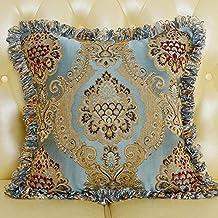 MeMoreCool Luxury Palace Style Exquisite Jacquard Throw Pillow Cover,Elegant Pillowcase with Fringe Edge Decor,Home Decor Sofa Cushion Cover