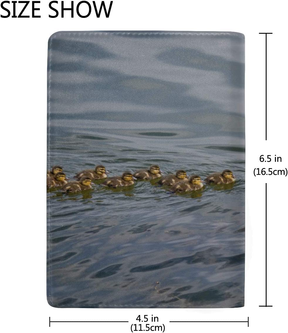 Mallard Duck With Her Ducklings Blocking Print Passport Holder Cover Case Travel Luggage Passport Wallet Card Holder Made With Leather For Men Women Kids Family