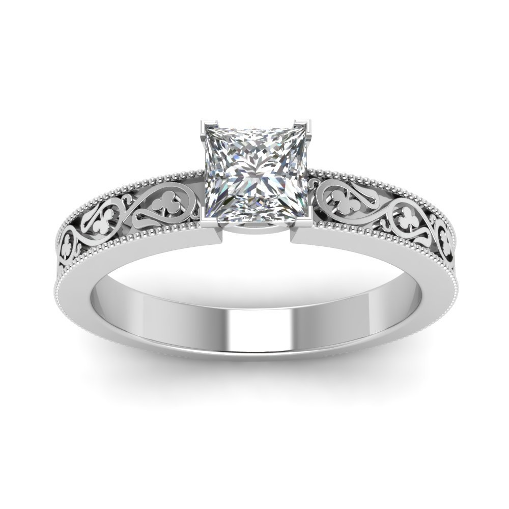 Princess Cut CZ Diamond Shamrock Carved Solitaire Engagement Ring 14k White Gold Plated