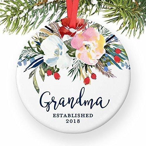 Grandma Ornament 2018, New Grandmother Christmas Ornament for Nana Grandmom New Baby Floral Watercolor Present Grandparents Pretty Ceramic 3