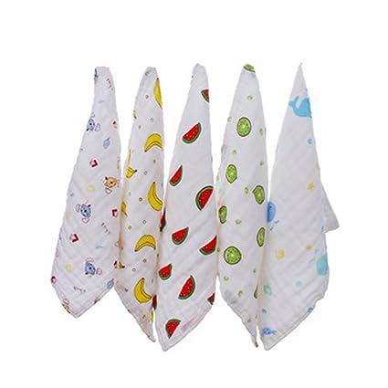 Muselina Bebé Baño Toallitas 5 Pack suave transpirable absorbente toallas de mano de algodón orgánico,