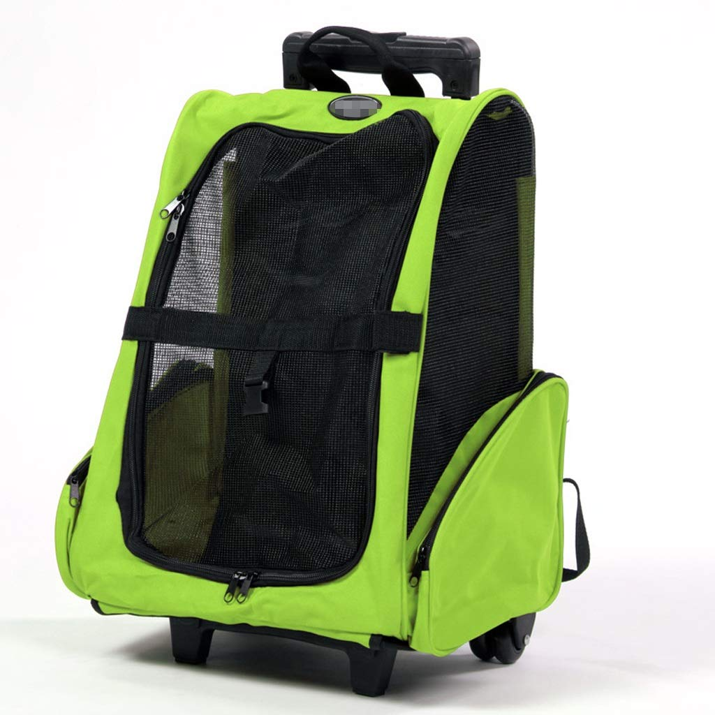 Green YQRYP Pet Backpack Puppy Pet Carrier Bag Trolley Case Dog Cat Rabbit Travel Backpack Rolling Duffel Bag Walking,Travel,Hiking,Camping (color   Green)