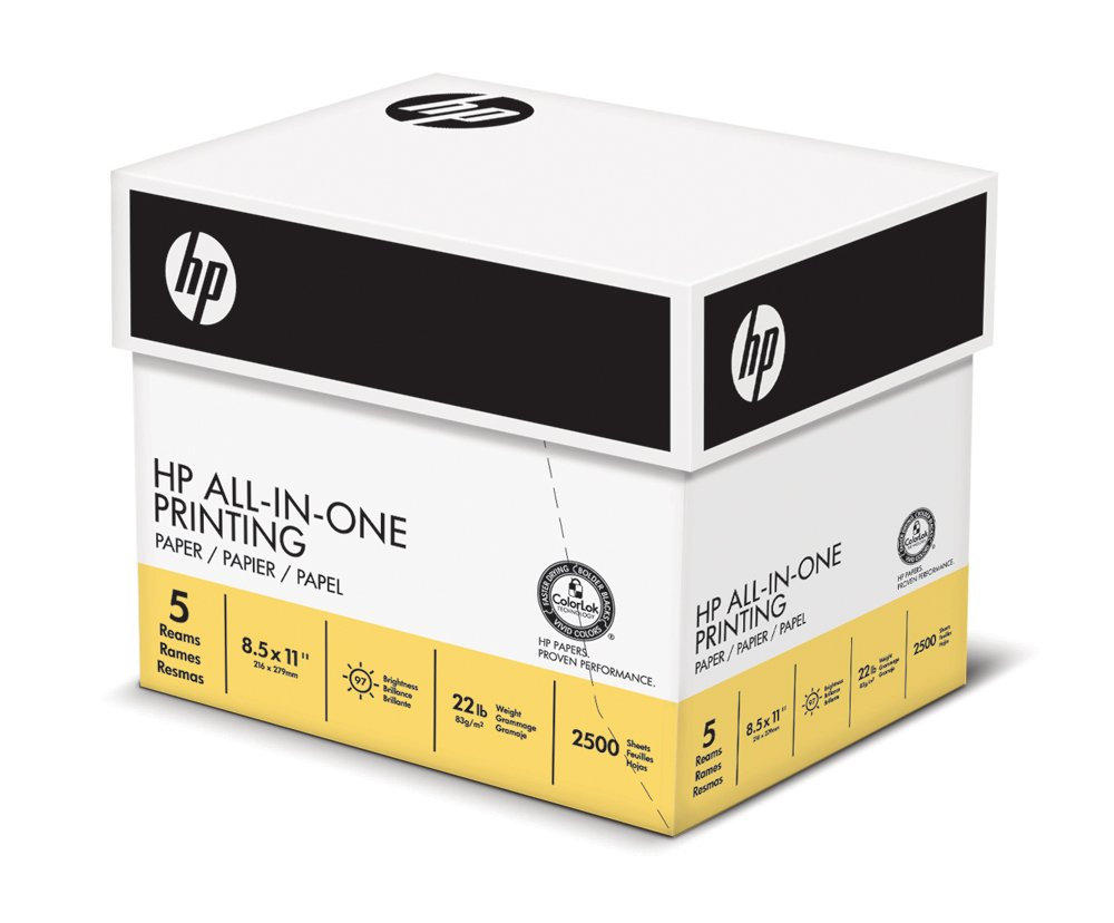 HP Printer Paper, All In One22, 8.5 x 11, Letter, 22lb, 96 Bright, 2,500 Sheets / 5 Ream Carton (207000C) Made In The USA