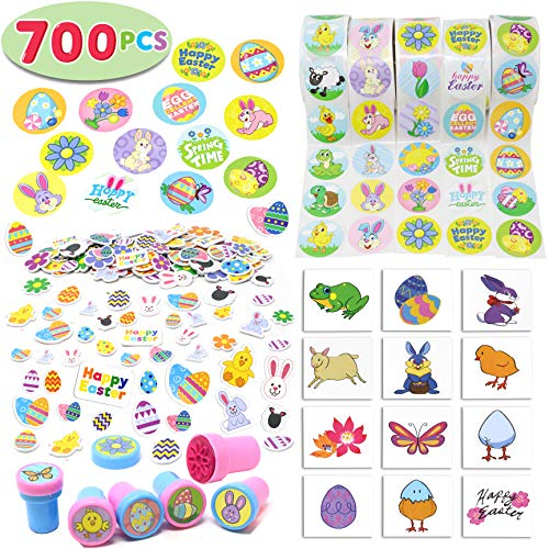 Easter Crafts Assortment Kit with 500 Easter Stickers, 144 Easter Shapes Adhesive, 60 Easter Theme Temporary Tattoos and 6 Easter Stampers (over 700 Pieces) for Easter Egg Basket Stuffers -