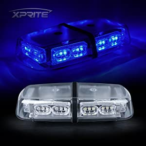 Xprite Gen 3 Blue 36 LED 18 Watts Roof Top High Intensity Law Enforcement Emergency Hazard Warning LED Mini Bar Strobe Light with Magnetic Base