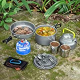 Odoland 10pcs Camping Cookware Mess Kit, Lightweight Pot...