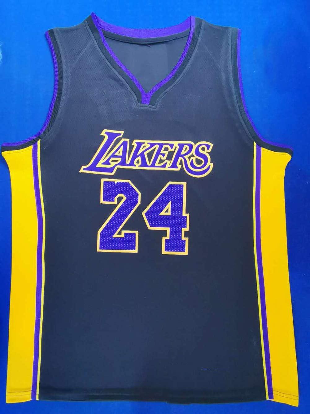 Camiseta de baloncesto para hombre unisex con el nombre y el n/úmero del jugador bordados sin mangas tama/ño xx-large N/úmero 24 de Kobe Bryant color Negro-2 Camiseta de manga corta para baloncesto A-lee