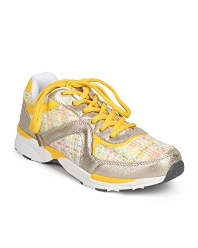 Women Mixed Media Metallic Tweed Lace Up Fashion Running Sneaker Size DI63  - Yellow (Size 6ce74a328