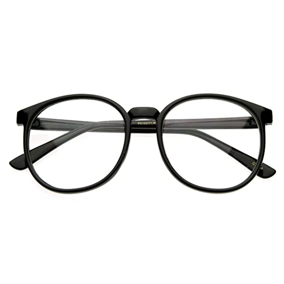 7622a3075be7b zeroUV - Vintage Inspired Round Circle Spectacles Clear Lens Horn Rimmed  P-3 Glasses (Black)  Amazon.in  Clothing   Accessories