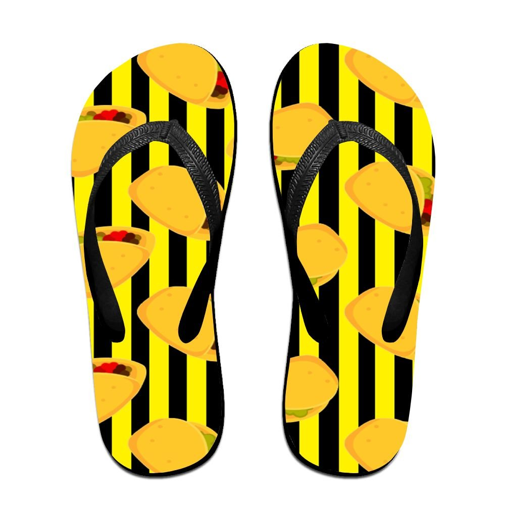 Tailing Flip Flops Tacos In Black Stripe Unisex Trendy Print Slippers Beach Sandal