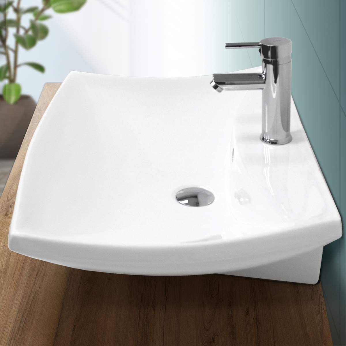 ECD Germany Lavabo sobre encimera Rectangular con Agujero desagüe cerámica - Blanco - Aseo lavamanos - 605x460x165 mm - diseño Elegante - Fregadero sin desbordamiento Pila para el Cuarto de baño