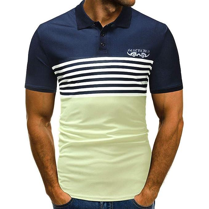 Bestow Camisa Estampada de Manga Corta para Hombres Camisa Estampada de Rayas Remiendo de Manga Corta Camiseta Casual: Amazon.es: Ropa y accesorios