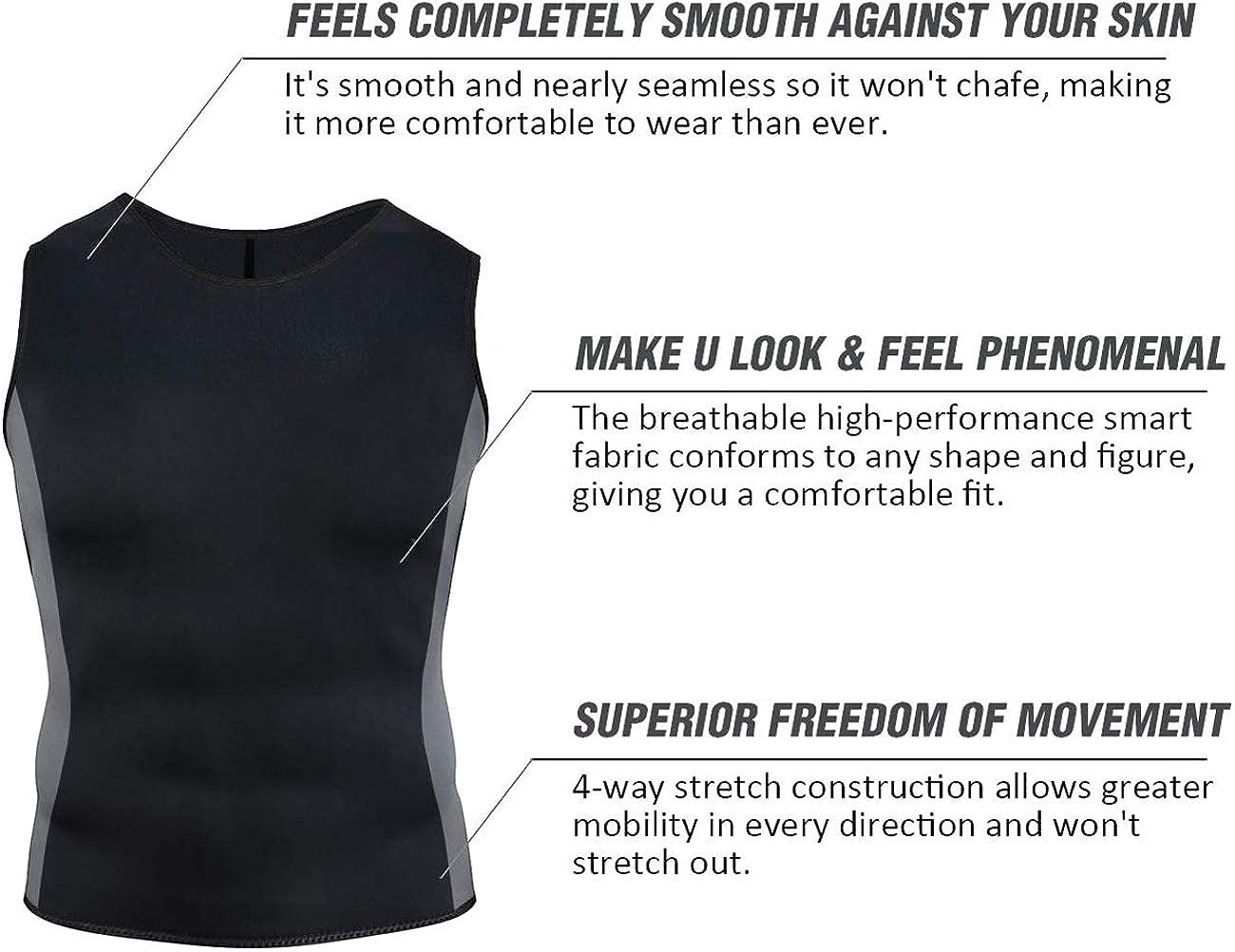 Yevohadt Men Sweat Vest Neoprene Sauna Waist Trainer Vest Body Shaper Compression Shirt Slimming Workout Tank Tops