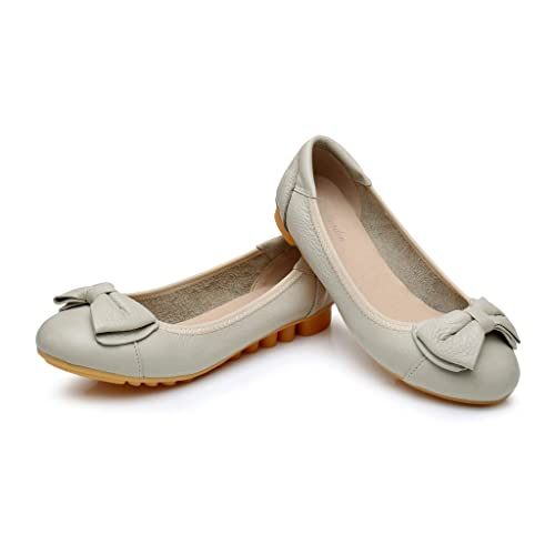f0ef6913178a4 Antiordin Women's Leather Slip Ons Ballet Flats Shoes with Bow