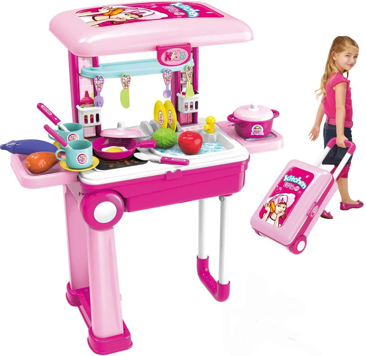 Amazon Com Roxie Pretend Play Kitchen Toy Set For Kids Girls Boys 2 In 1 Little Cooks Play Kitchen With Lights Sounds Deluxe Portable Kitchen Playset Toy Toys Games