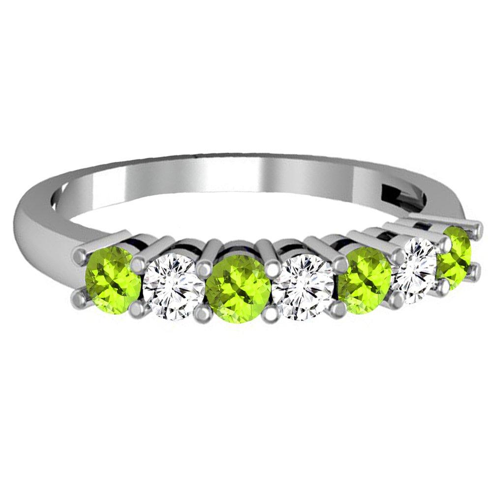 Dazzlingrock Collection 14K Round Peridot & White Diamond Ladies 7 Stone Wedding Band Ring, White Gold, Size 8 by Dazzlingrock Collection (Image #2)