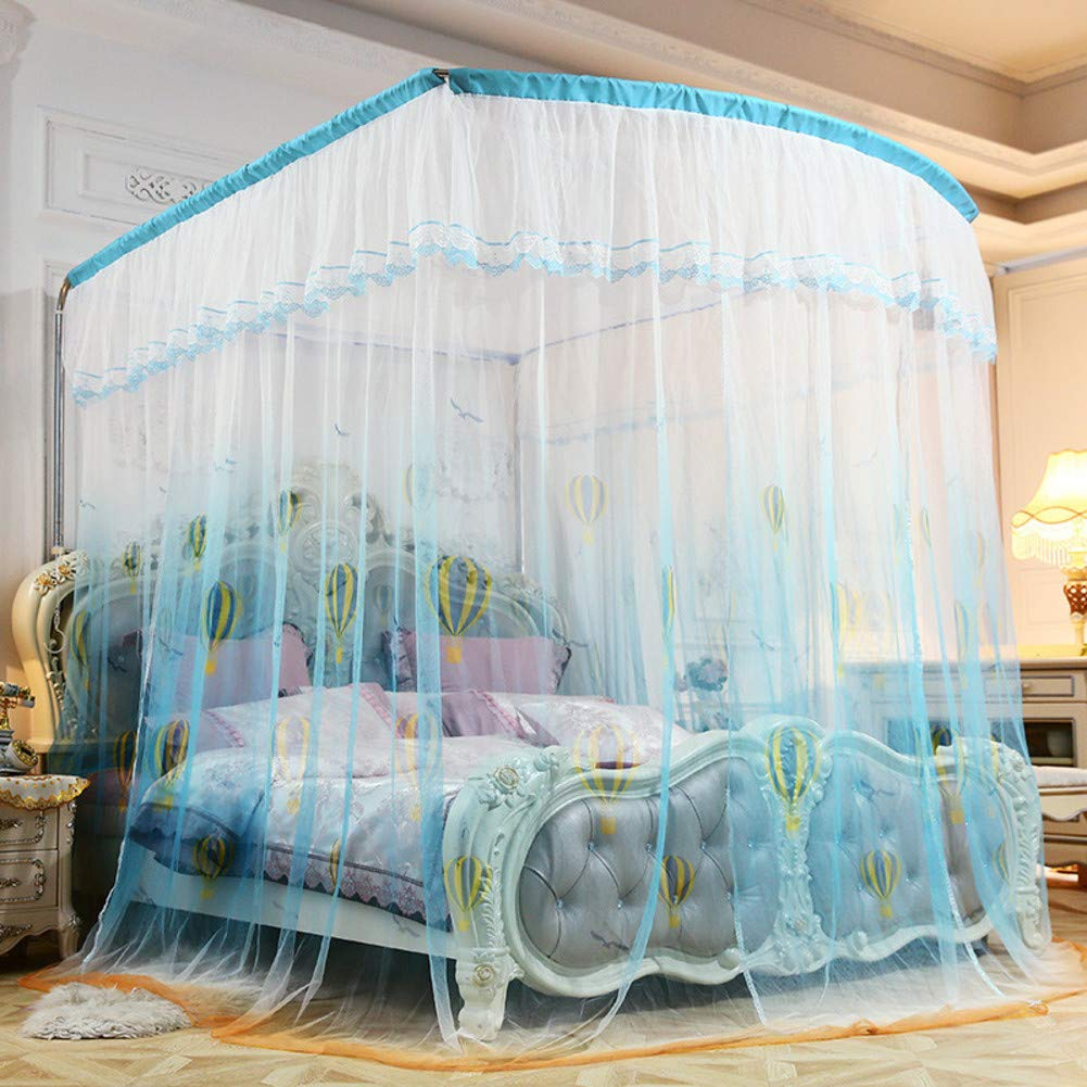 KE & LE Princess Style Mesh Canopy Curtains with Bottom, Hanging Mosquito Net Universal Size Crib Mosquito Net for Girls Kids Toddlers Crib Tent Mesh Canopy Curtains with Bottom-b Queen2