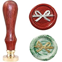 Lanyoshe Wax Seal Stamp Bowknot, Sealing Wax Stamp Retro Wood Stamp 25mm Round Brass Head Removable Wooden Handle for…