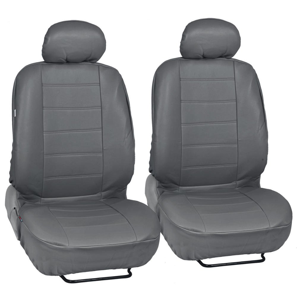 Custom Auto Crews - Gray PU Leather Seat Covers Front Pair Set of 2 - Leatherette Grade Motor Trend