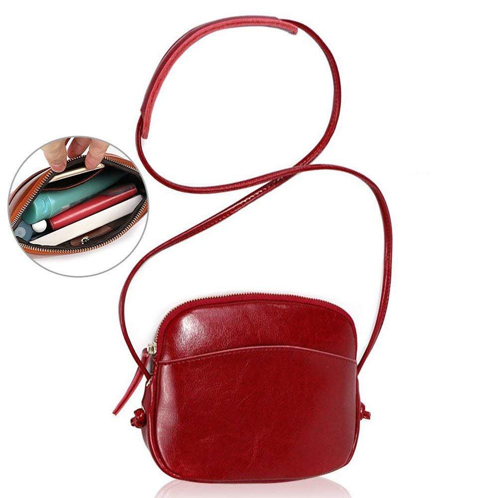 Honeststar Women Crossbody Bag, Genuine Real Leather Shell Shoulder Bag Mini Messenger Bag Phone Purse Sling Bag HS-Womanbag01-Black