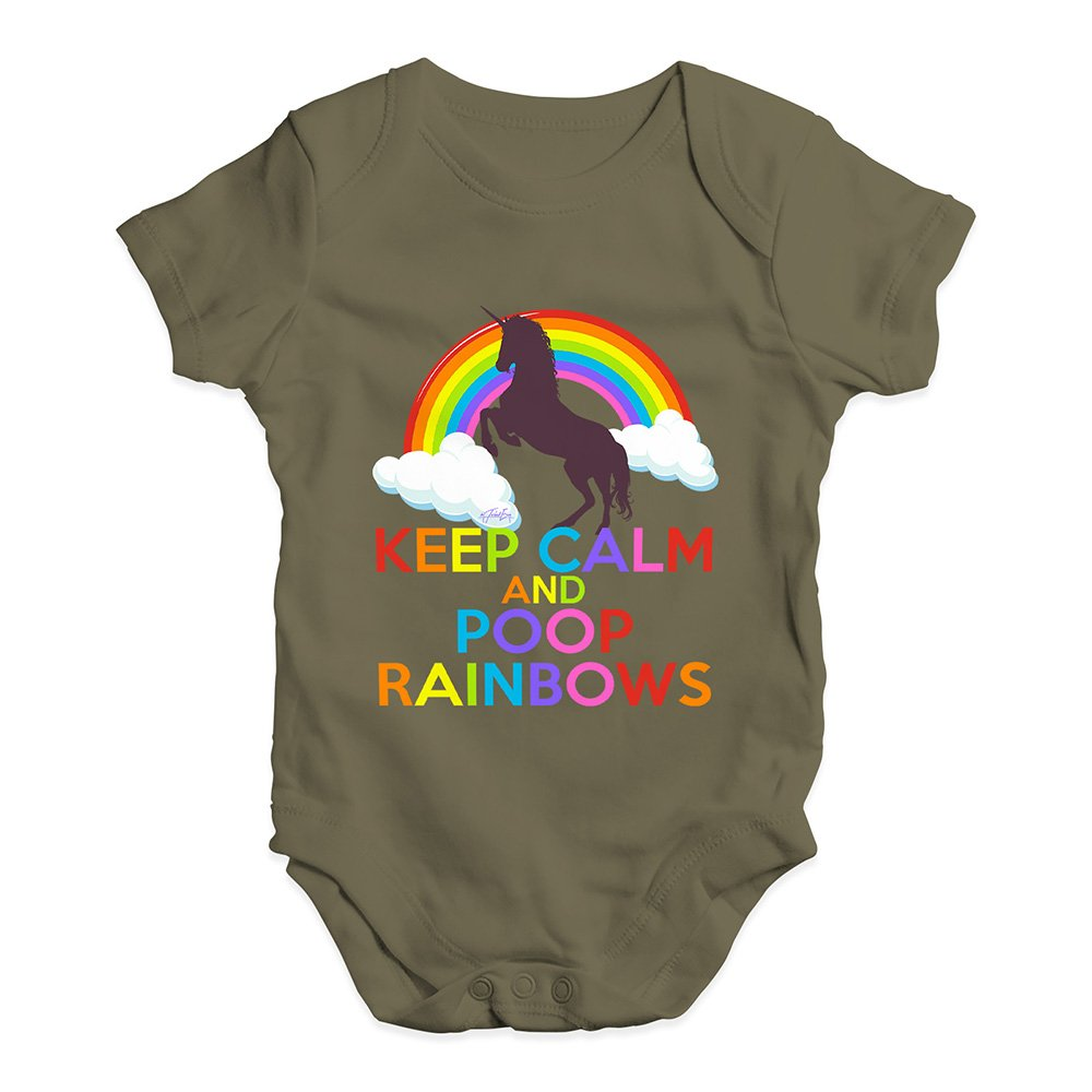 TWISTED ENVY Keep Calm and Poop Rainbows Baby Unisex Printed Infant Bodysuit Baby Grow