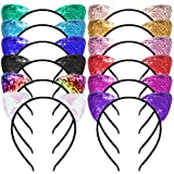 SIQUK 12 Pcs Cat Ear Headbands with a Storage Bag
