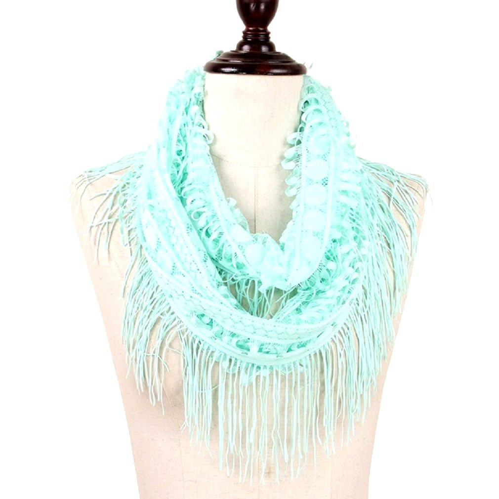 Uniklook BLace Tassel Fringe Infinity Scarf 100% Polyester 19'' X 27'' Fashion accessories (Mint Green)