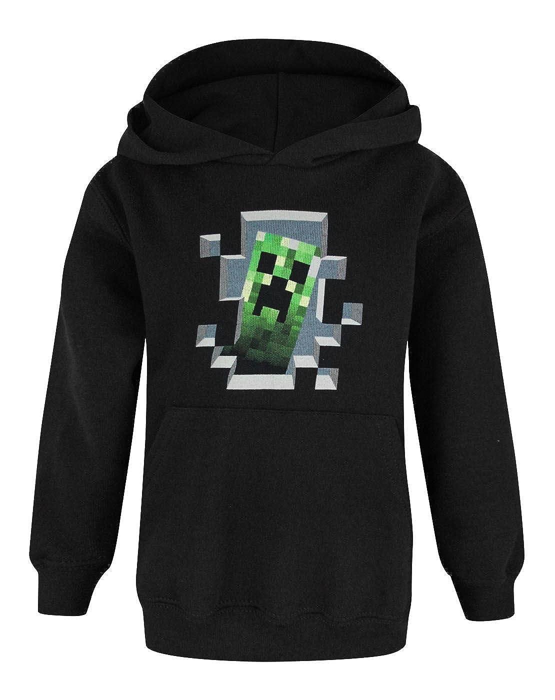 Minecraft -  Canotta - Cappuccio - Maniche lunghe - ragazzo nero