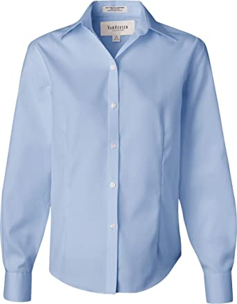 Van Heusen Women's Wrinkle Free Spread Collar Oxford Shirt at ...