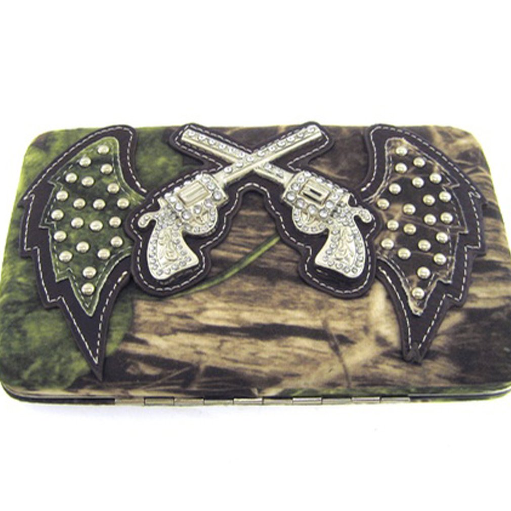 Cowgirl Soft Velvety Camo Revolver Guns w/ Angel Wings Flat Wallet Clutch Purse (brown)