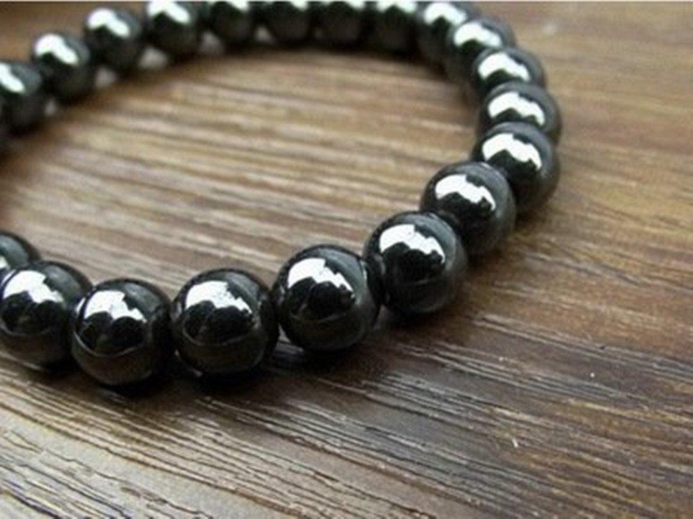 2pcs/Set Magnetic Hematite Therapy Beads Bracelets Black Gallstone Bracelet Handmade for Women Men Kids Bracelets Birthday Parent Party Gifts