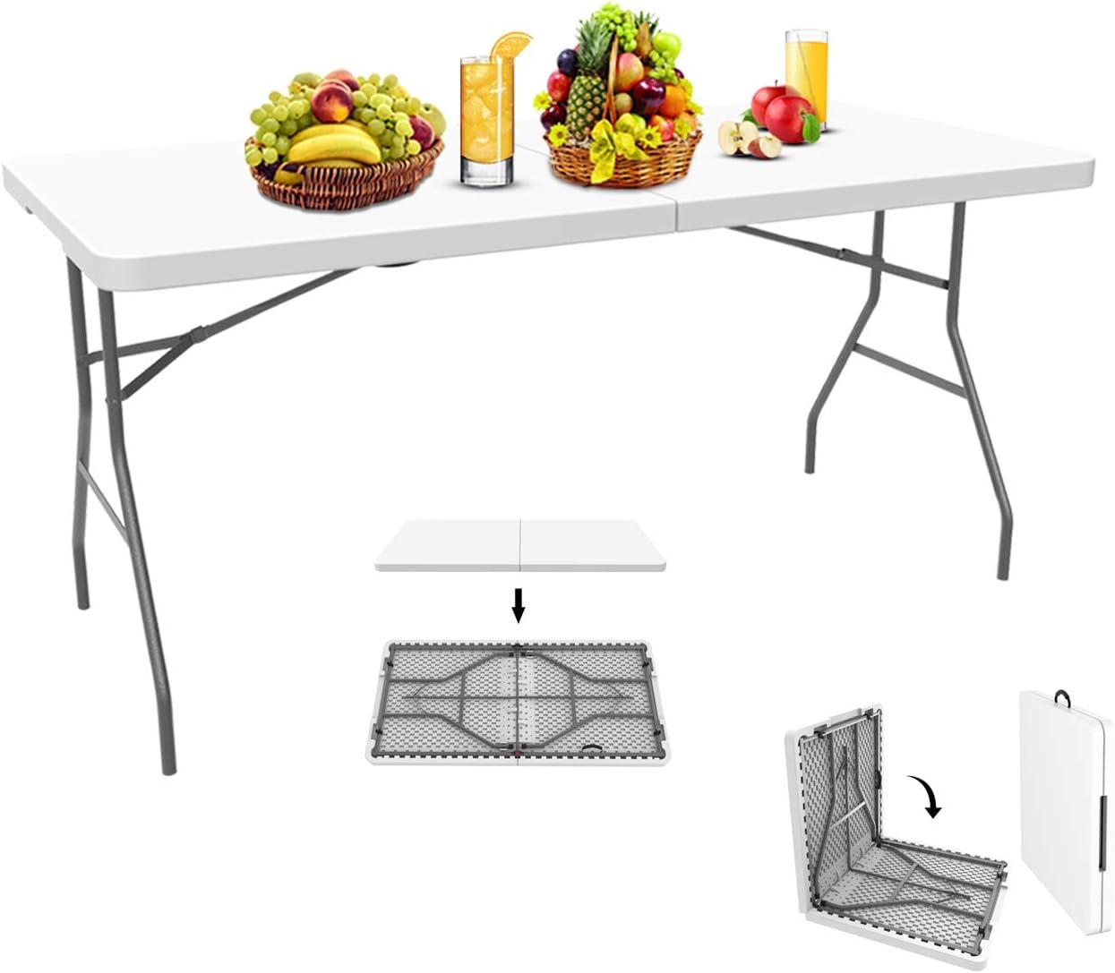 Todeco - Mesa de Plástico Resistente, Mesa Plegable Portátil, 152 x 71.5 cm, Blanco, Plegable por la Mitad, Material: HDPE, Carga máxima: 100 kg