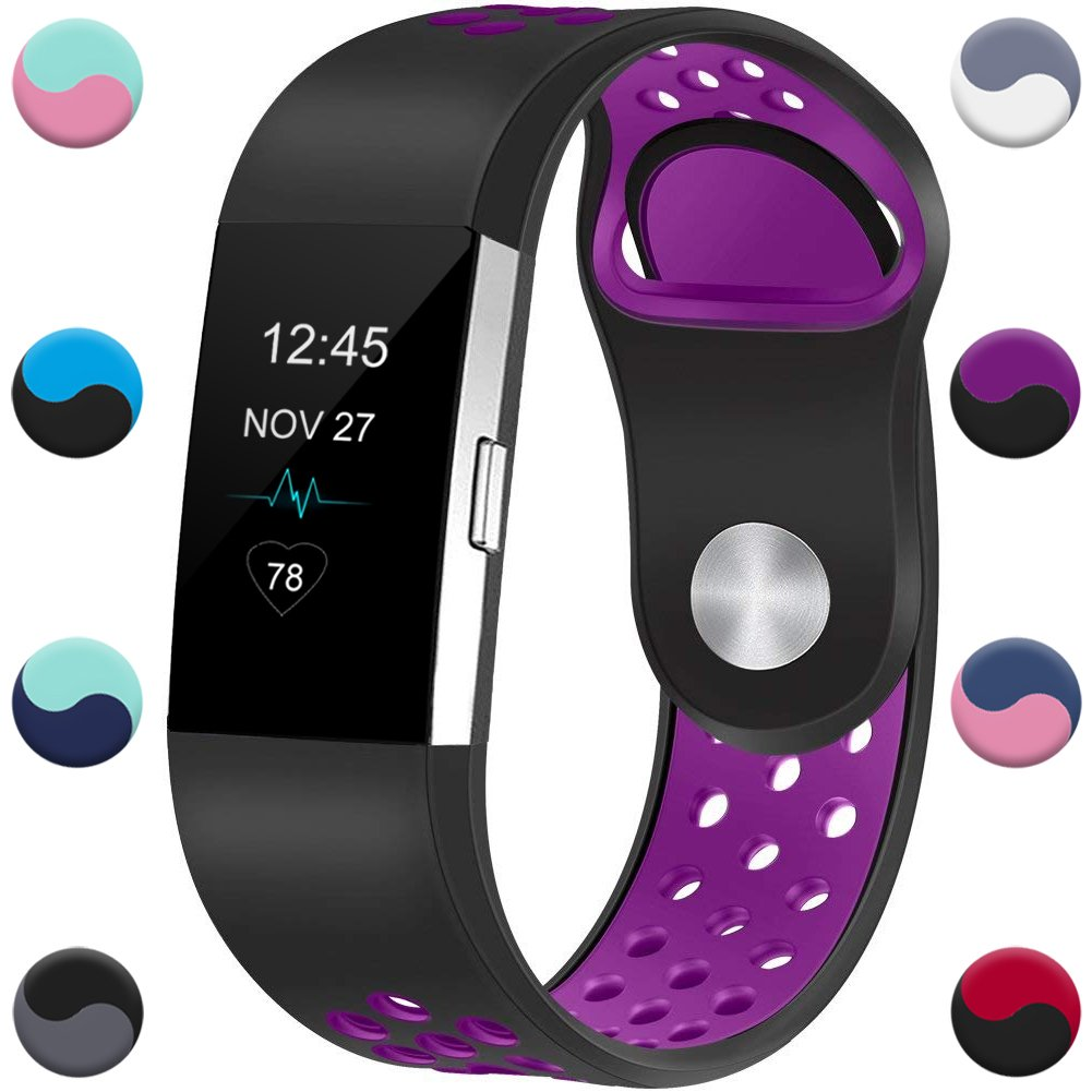 Geak Fitbit Charge 2バンド、交換アクセサリーバンドfor Fitbit Charge 2、クラシックリストバンド安全なシリコンファスナーメタルClasps for Fitbit Charge 2 B078W7CDPS Small #002 Black-purple #002 Black-purple Small