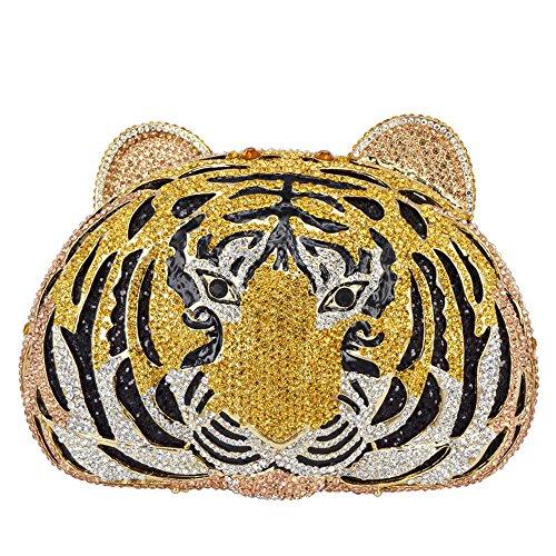 Lady Dazzle Full Diamond Clutch Tiger Head Evening Bag Bling Rhinestone Chain Cross Body Bag Animal Purse (Gold 1) by nice--buy (Image #7)