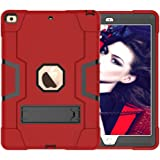 """A-BEAUTY Case for iPad 10.2"""" 2019 7th Generation, with [Screen Protector] [Pen] [Shockproof] [Kickstand], Red Black"""