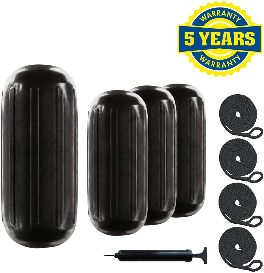 4 Pack 8 Inch x 20 Inch Center Hole Black Inflatable Vinyl Fenders for Boats