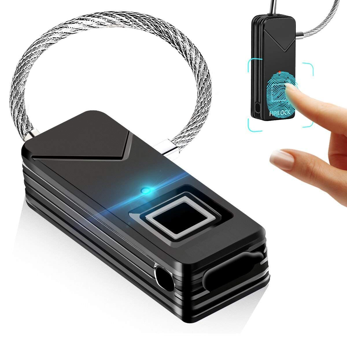 ZN% Z store fingerprint lock, sin contraseña bloqueo de seguridad portátil, 360 ° touch 1 segundo fast, maleta de desbloqueo a prueba de agua ligera, ...