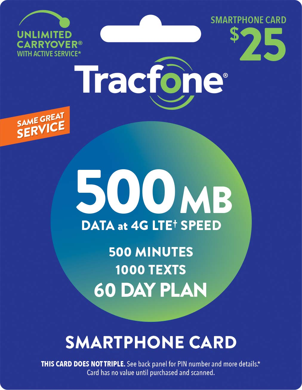 Tracfone Smartphone Only Airtime Service Card - 500 Minutes - 1000 Texts - 500 mb data by TracFone (Image #1)