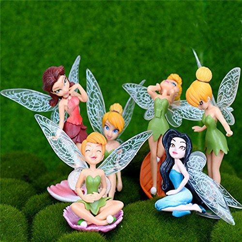 HIVE FIVE STORE 6Pcs/Set Flower Fairy Miniature Landscape Gardening Meat DIY Landscape Decoration Miniature Elf Garden House Decoration Mini Cr ()
