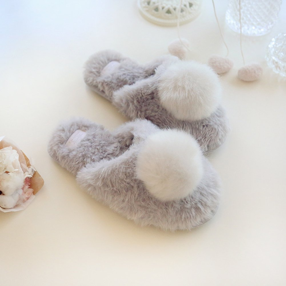 VWU Womens Girls Warm Winter Fur Slip On Memory Foam Washable Soft Sole Cozy Indoor House Home Slippers