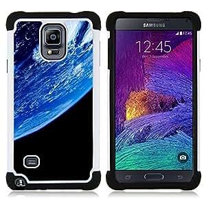 For Samsung Galaxy Note 4 SM-N910 N910 - Blue Planet Earth Closeup View Space Atmosphere /[Hybrid 3 en 1 Impacto resistente a prueba de golpes de protecci????n] de silicona y pl????stico Def/ - Super Mar