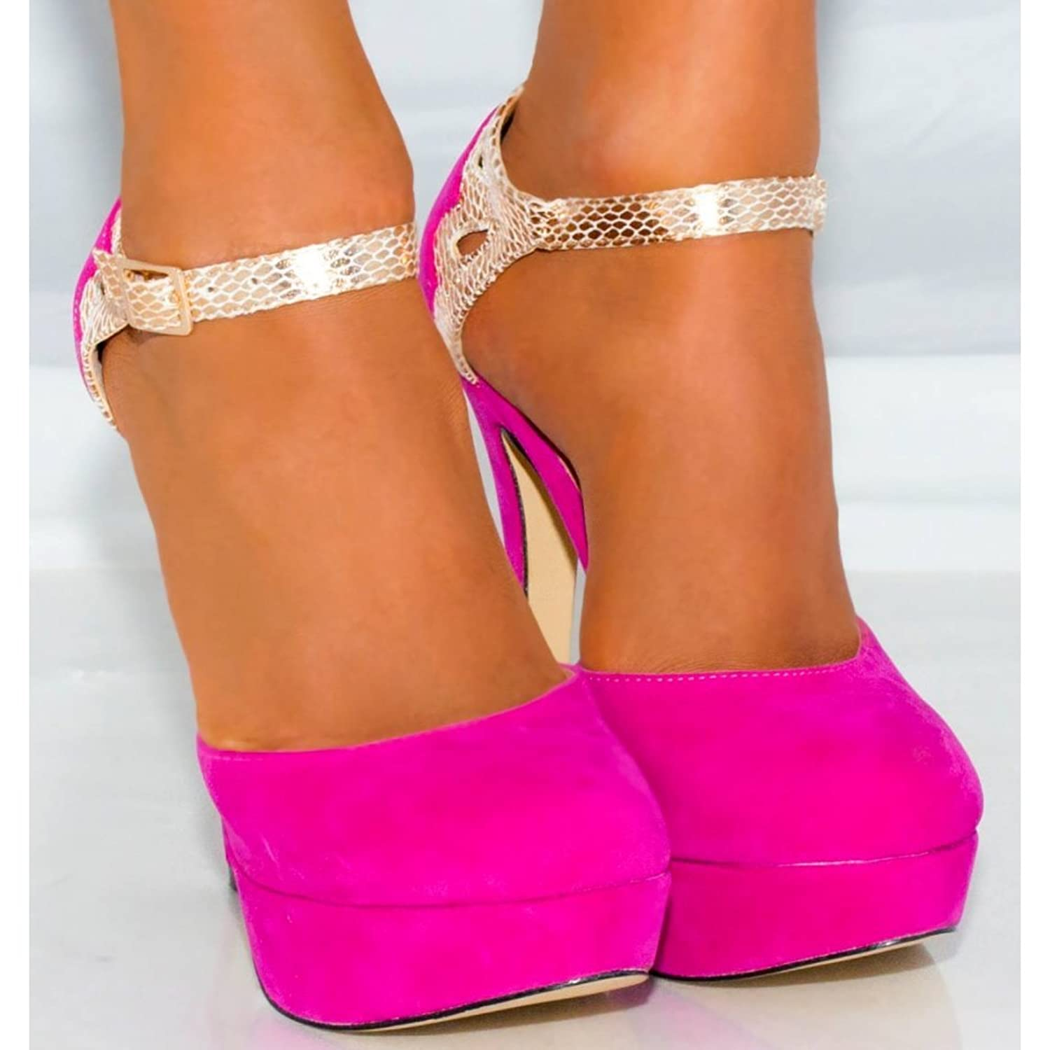 LADIES WOMENS FUCHSIA BRIGHT HOT PINK GOLD STRAPPY SANDALS ...