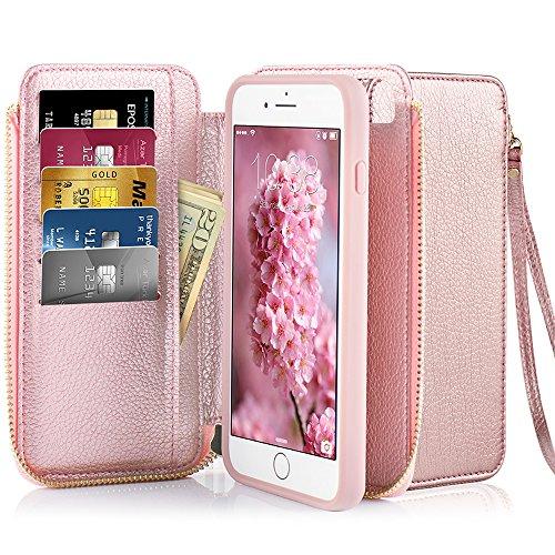 iPhone 8 Plus Wallet Case , iPhone 7 Plus Card Holder Case , ZVE iPhone 7 Plus / 8 Plus Wallet Case with Credit Card Holder Slot Zipper Handbag Wallet Case for iPhone 7 Plus / 8 Plus 5.5