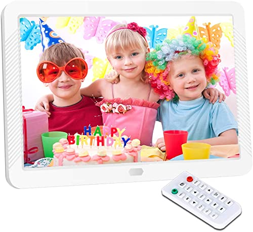 Digital Picture Frame 8 Inch Digital Photo Frame HD 1920X1080P with Remote Control 16 9 IPS Display Auto Slideshow Zoom Image Stereo Video Music Player Support USB SD Card 180 View Angle White