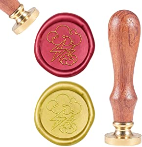 CRASPIRE Wax Seal Stamp Lightning and Cloud, Sealing Wax Stamp Retro Wood Stamp Wax Seal 25mm Removable Brass Head Wood Handle for Party Wedding Invitation Envelope Greeting Card Wine Bottle Decor